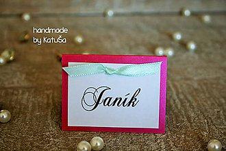 Grafika - svadobná menovka mašlička (Ružová) - 9969434_