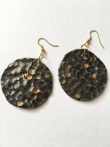 Náušnice - hnedé kruhy /keramika/ - 9968825_