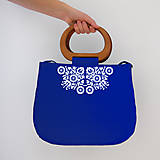 Kabelky - FOLK KABELKA PIEŠŤANY S DREVENOU RÚČKOU (Modrá) - 9969877_