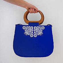 Kabelky - FOLK KABELKA PIEŠŤANY I. S DREVENOU RÚČKOU (Modrá) - 9969877_