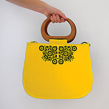 Kabelky - FOLK KABELKA PIEŠŤANY I. S DREVENOU RÚČKOU (Žltá) - 9969892_