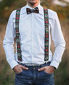 Doplnky - Pánsky ČIERNY folk set traky z gumy a extra vystužený motýlik - 9970806_