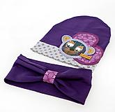 Detské čiapky - Prechodná čiapka a nákrčník s mackom - 9970452_