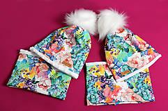 Detské čiapky - Pestrofarebný set s brmbolcom - 9970830_