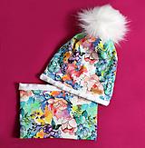 Detské čiapky - Pestrofarebný set s brmbolcom - 9970831_