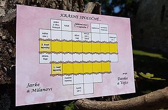 Grafika - Svadobná krížovková pohľadnica - 9968789_