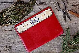Na notebook - PUZDRO FOLK EDITION ČERVENÉ (na MacBook 12 (drievko s modrou niťou)) - 9969338_
