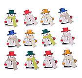 Gombíček vianočný SNEHULIAK 3,4 x 2,6 cm