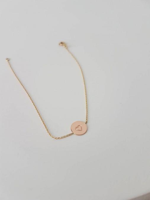 4687dda84 Náramok s medailónom a srdiečkom (Medailón z bieleho zlata) / Motivo ...