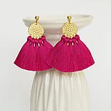 Náušnice - Zlaté náušnice so strapčekmi - ružové, mosadz - 9970363_