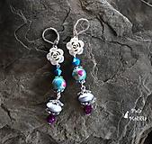 Náušnice - Kvetinkové náušnice - bordová tyrkys - 9969873_