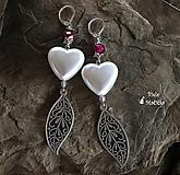Náušnice - Nevinné srdcia - náušnice, bordová, striebro - 9969936_