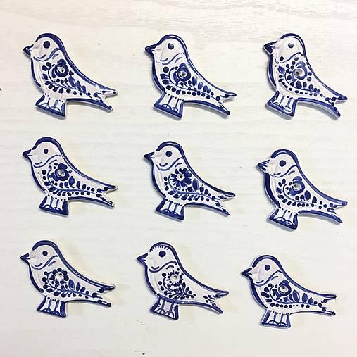 Dekorácie - Ptáček - plaketa modře malovaný - 9966903_