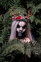 Ozdoby do vlasov - Kvetinový venček s parožkami Halloween - 9967958_