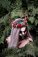 Ozdoby do vlasov - Kvetinový venček s parožkami Halloween - 9967959_