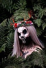 Ozdoby do vlasov - Kvetinový venček s parožkami Halloween - 9967961_
