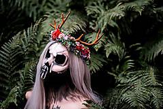 Ozdoby do vlasov - Kvetinový venček s parožkami Halloween - 9967962_