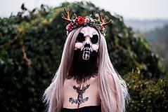 Ozdoby do vlasov - Kvetinový venček s parožkami Halloween - 9967963_