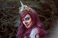 Ozdoby do vlasov - Kvetinová čelenka Jednorožec Halloween - 9968008_