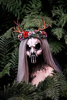 Ozdoby do vlasov - Kvetinový venček s parožkami Halloween - 9967960_