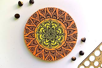 Obrazy - Mandala na kruhovom plátne (orange) - 9969681_