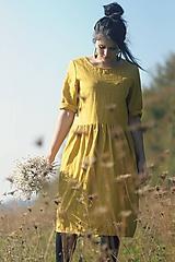 Šaty - Žluté šaty lněné - 9970374_