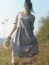 Šaty - Béžové šaty lněné - 9970453_
