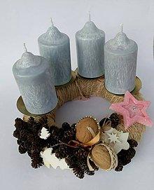 Svietidlá a sviečky - adventné sviečky šedé 8cm - 9970384_