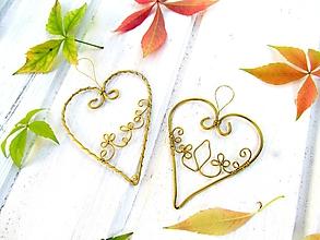 Dekorácie - Zlaté srdce - 9969213_