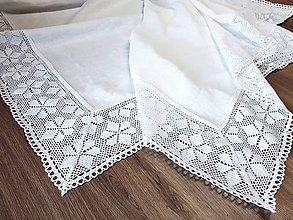 Úžitkový textil - Ľanový obrus Love Lace - 9969865_