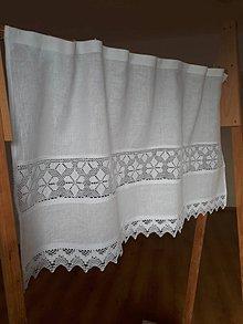 Úžitkový textil - Ľanová záclonka Love Lace - 9969984_