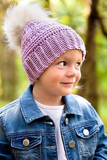 Detské čiapky - Merino háčkovaná čiapka s brmbolcom - 9970256_