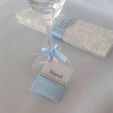 Papiernictvo - Menovky na pohár modré odtiene - 9974658_
