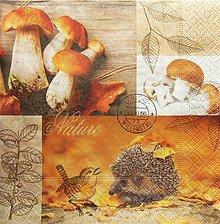 Papier - S1298 - Servítky - hríby, huby, les, ježko, jeseň, lístie, vtáčik - 9973183_
