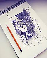 Kresby - Ilustrácia - Dievčatko roztomilé - 9971886_