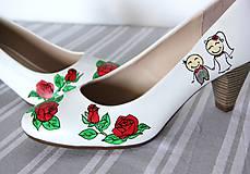 Obuv - svadobné lodičky s ružami - 9971927_