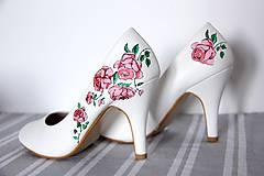 Obuv - lodičky - ružové ružičky - 9971971_