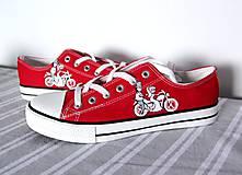 Obuv - červené tenisky svadobné s motorkou - 9972562_