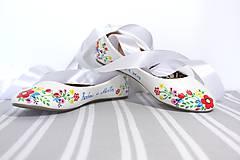 Obuv - svadobné balerínky - jarné kvietky - 9972679_