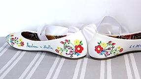 Obuv - svadobné balerínky - jarné kvietky - 9972682_