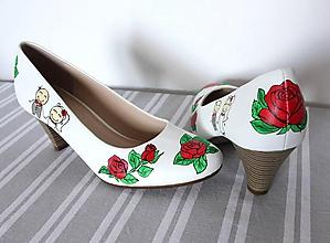 Obuv - svadobné lodičky s ružami - 9971925_