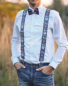 Doplnky - Pánsky MODRÝ folk set traky z gumy a extra vystužený motýlik - 9974416_