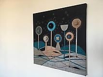 Obrazy - Vlnený textilný obraz v modrom 2 - 9972216_