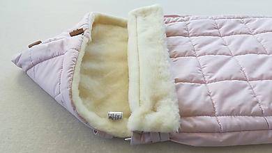 Textil - RUNO SHOP fusak pre deti do kočíka 100% ovčie runo MERINO TOP super wash ELEGANT Rainbow POWDER PINK púdrová ružová - 9974750_