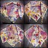 Šatky - Voňavá jeseň- hodvábna maľovaná šatka s kvetmi a makovicami - 9973835_