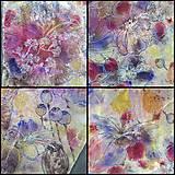Šatky - Voňavá jeseň- hodvábna maľovaná šatka s kvetmi a makovicami - 9973838_
