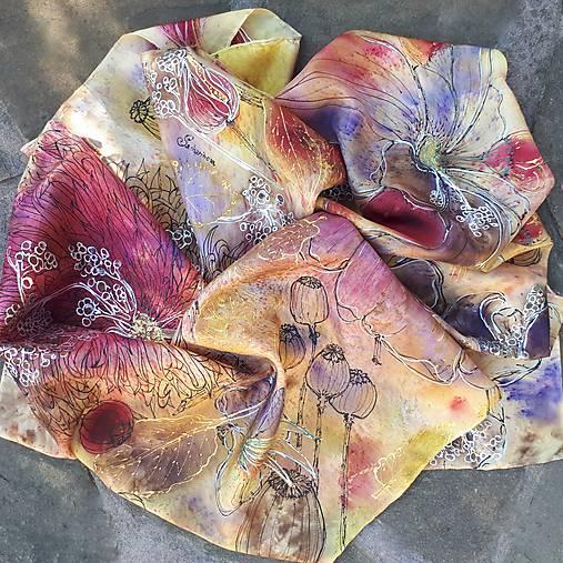 Voňavá jeseň- hodvábna maľovaná šatka s kvetmi a makovicami
