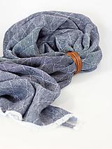 Doplnky - Pánsky exkluzívny obojstranný šál z ľanu s koženým remienkom - 9972238_