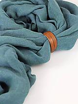 Doplnky - Štýlová šatka petrolejovej farby z ľanu - 9972551_