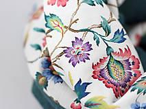 Šály - Pôvabný kvetinový ľanový nákrčník petrolejovej farby
